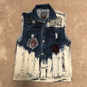 Men's Black Keys Sleeveless Jean Jacket Vest M